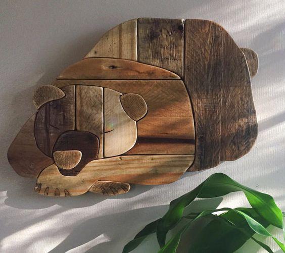 Rustic Hibernating Bear - handmade reclaimed wood, wall hanging ...