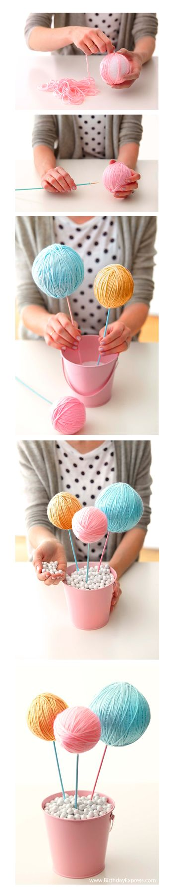Lalaloopsy birthday party. Lalaloopsy Centerpiece, yarn balls.