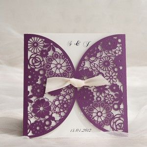 chic purple laser cut invitations EWWS055