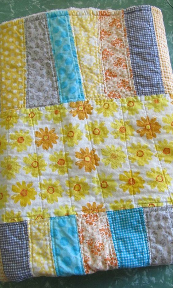 Sunny Daisy Handmade Modern Scrappy Strip Quilt by SugarAndSpice