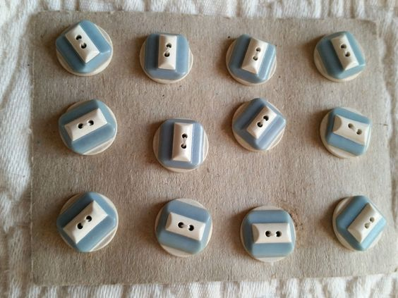 12 VINTAGE 1930S ART DECO BUTTONS PALE TEAL RAF BLUE FRENCH celluloid 14mm