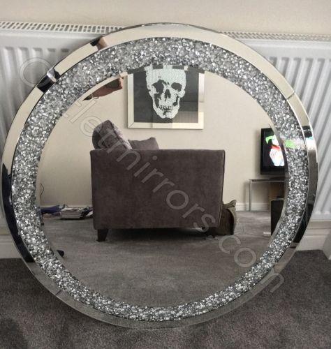 Diamond Crush Sparkle Round Silver Wall Mirror 90cm Dia Item In