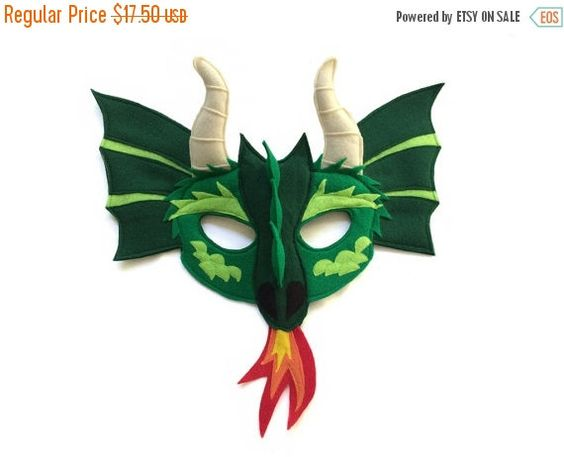 ON SALE DRAGON Felt Animal Mask for Children by MagicalAttic: