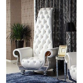 Divani Casa Luxe Neo-Classical White Italian Leather Tall Chair | Overstock.com Shopping - The Best Deals on Living Room Chairs