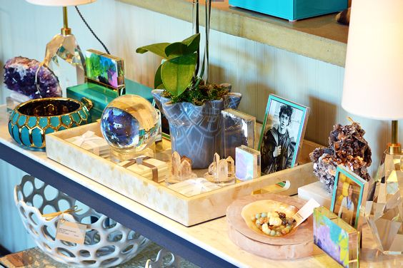 Love the green bowl on the left of the picture. Mecox Dallas #interiordesign