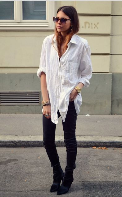 maja wyh - classic white shirt and black leather