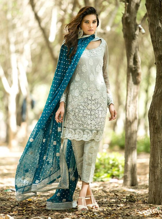 Walima wear Grey Shirt with Ferozi embroidered Dupatta