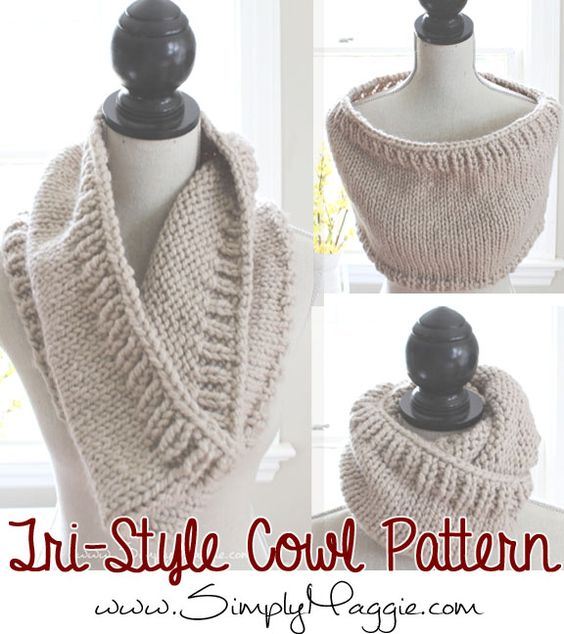 Knit Toque Pattern : Chunky Tri-Style Knit Cowl Pattern (FREE!) simplymaggie.com To Make: Pi...