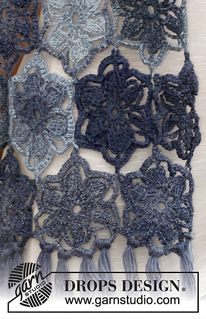 """Dream Catcher - Crochet DROPS scarf with flowers in """"Delight"""". - Free pattern by DROPS Design"""