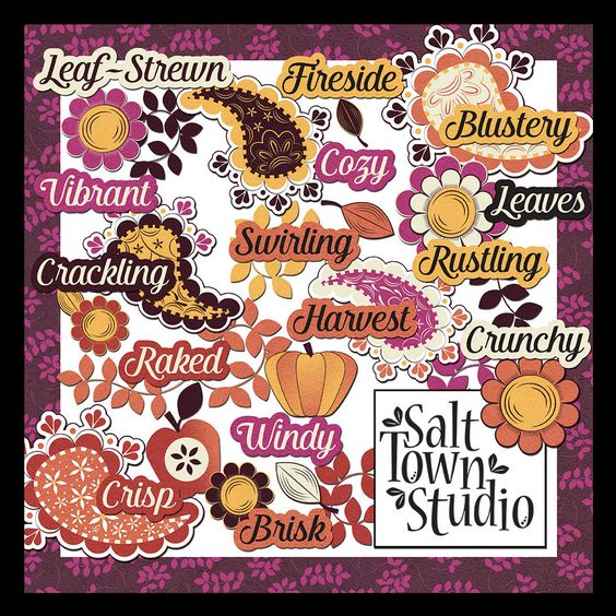 Friday's Guest Freebies ~ Salt Town Studio  ✿ Follow the Free Digital Scrapbook board for daily freebies: https://www.pinterest.com/sherylcsjohnson/free-digital-scrapbook/ ✿ Visit GrannyEnchanted.Com for thousands of digital scrapbook freebies. ✿ Free Thanksgiving and Autumn Word art and Clip art with apple, pumpkin, flowers, paisley, and leaves