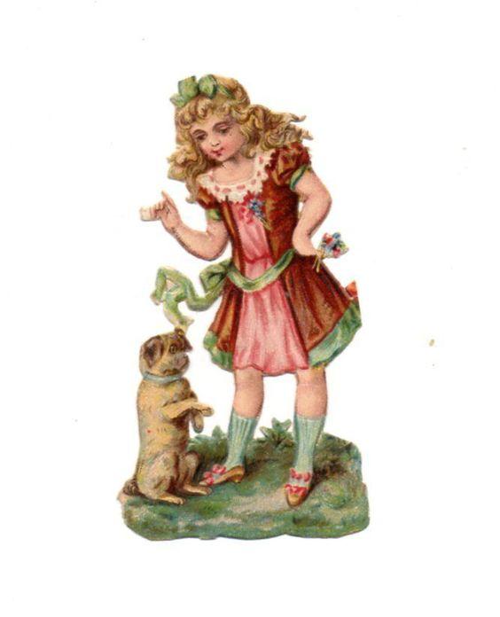 Alte Oblate Glanzbilder Scraps Mädchen mit Mops Hund 8cm ...: