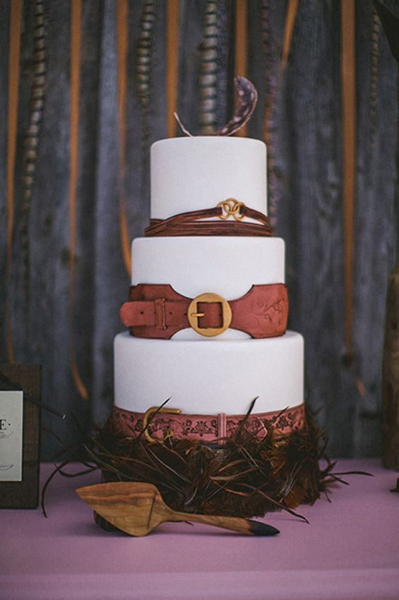leather + feather wedding cake // photo by The Willinghams // cake by Intricate Icings Cake Design: