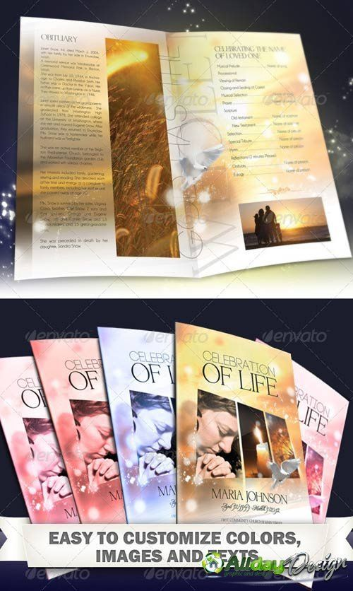 Free print funeral brochures graphicriver for Program brochure templates