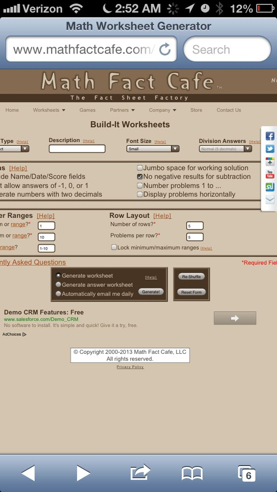 Printables Math Fact Worksheet Generator printables math fact worksheet generator safarmediapps worksheets facts and generators on pinterest cafe best generator