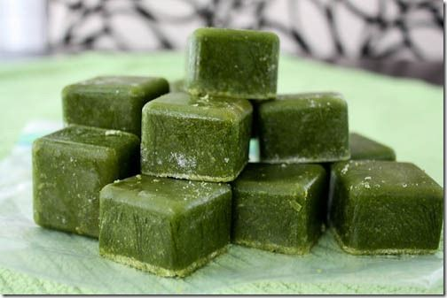 frozen spinach cubes for smoothies ~ make smoothies faster and waste less greens by using them before they spoil