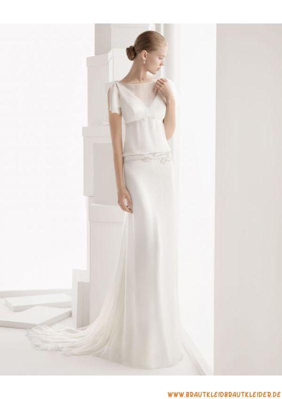 schlicht Günstige Brautkleider aus Chiffon