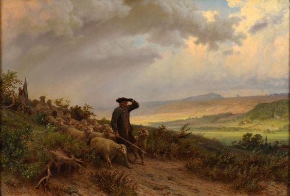 Schlesinger, Carl 1825 Lausanne - 1893 Düsseldorf Aufziehendes Wetter. Signiert. Datiert 1871. �