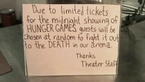 Hunger Games sign - lol