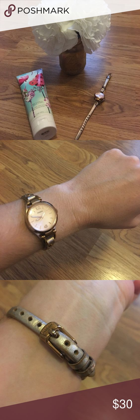 Fossil Genuine Leather Watch Fossil Genuine Leather Watch. Great condition! Pet and smoke free home! Feel free to send offers! Fossil Accessories Watches