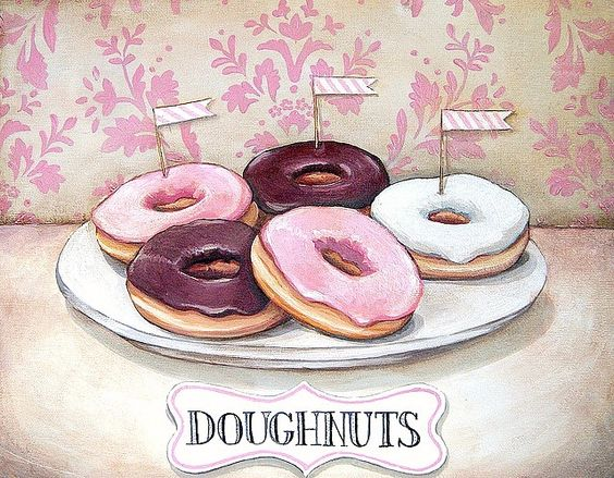 """""""Doughnuts"""" vintage inspired print M by Everyday is a Holiday"""