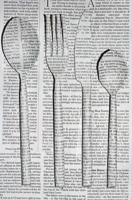 newspaper cutlery (Could do something similar to stand for how rituals become something you don't notice?