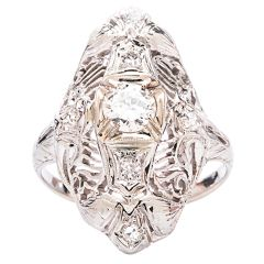 .32 Carat Diamond Gold Filigree Engagement Ring | From a unique collection of vintage engagement rings at https://www.1stdibs.com/jewelry/rings/engagement-rings/