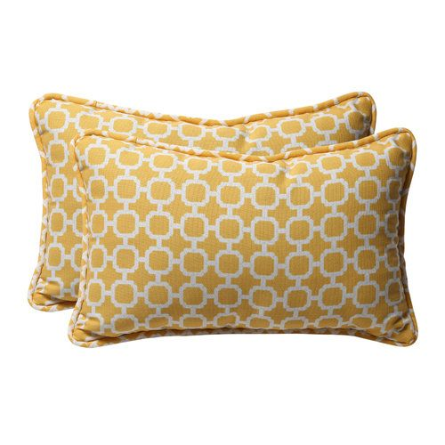 Pillow Perfect Hockley Yellow Rectangle Throw Pillow Set Of 2 Outdoor Cushions And Pillows Perfect Pillow Rectangular Pillow Cover