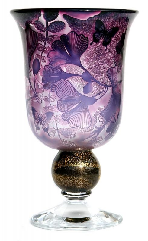 Jonathan Harris hand carved Intrinsic indigo ginkgo goblet