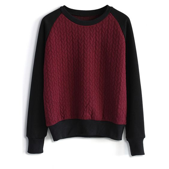 Chicwish Embossed Jumper in Wine (55 CAD) ❤ liked on Polyvore featuring tops, sweaters, shirts, abrigos, red, jumper shirt, red jumper, red top, cotton shirts and cuff shirts