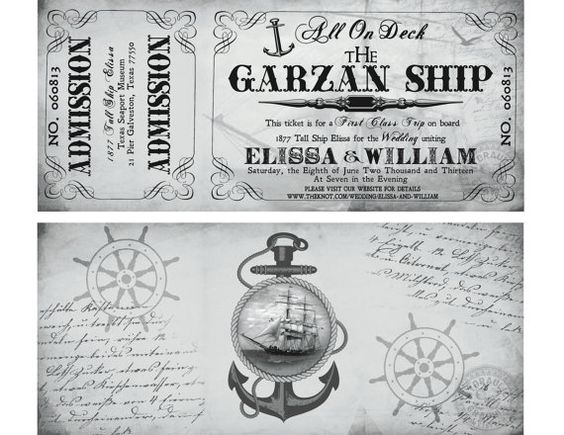 Cruise Wedding Invitation Wording Examples: Cruise Ship Ticket Invitation And RSVP, Printable Ticket