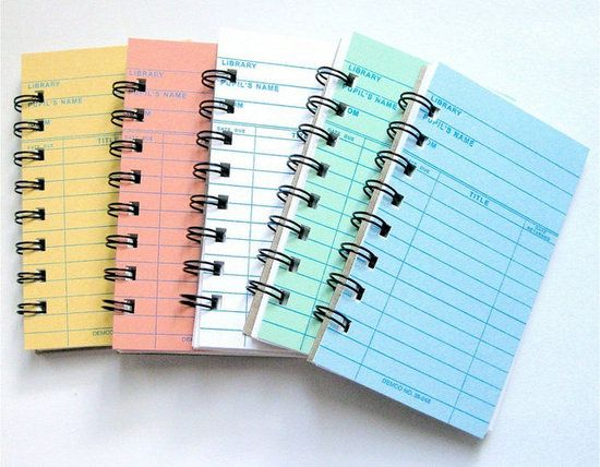 Library card notebooks