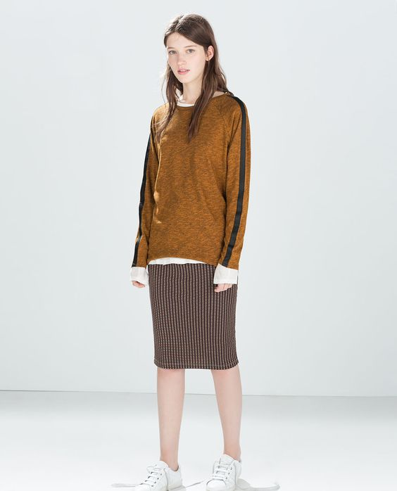 ZARA - SALE - T-SHIRT WITH LEATHER STRAP