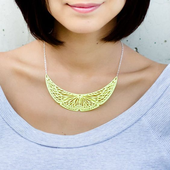 Neon Yellow Butterfly Necklace Small / 3D by ANNXANNXDESIGN, $60.00: