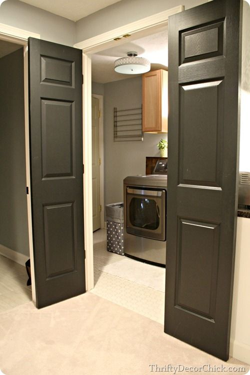 Door ideas closet and all black on pinterest for Basement door ideas