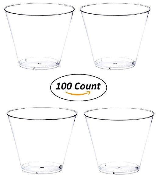 Amazon Com 100 Count Glitter 9 Oz Party Cups Old Fashioned Tumblers By Oojami Gold Home Kitchen Party Cups Plastic Party Cups Clear Plastic Plates