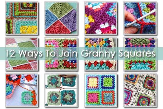 12 Ways To Join Granny Squares - How To | Pisos, Croché y Cuadrados ...