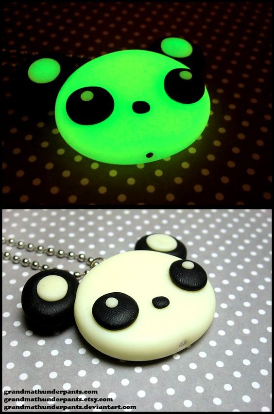 Glowing Panda Necklace by GrandmaThunderpants.deviantart.com on @deviantART