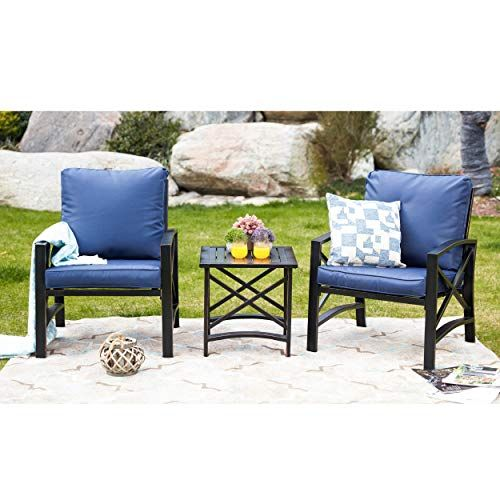 Lokatse Home 3 Piece Patio Conversation Set Outdoor Furniture With Coffee Table Chair Blue Lokatse Home Blue Patio Furniture Patio Seating Sets Patio Seating
