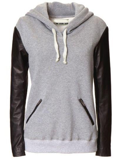 Shop Grey Hooded Contrast PU Leather Zipper Sweatshirt online. SheIn offers Grey Hooded Contrast PU Leather Zipper Sweatshirt & more to fit your fashionable needs.