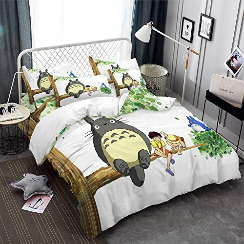 Realin Cartoon Totoro Print Bedding Microfiber My Neighbor Totoro Duvet Cover Set Include Quilt Cover Sheet Pillow Duvet Cover Sets Print Bedding Duvet Covers