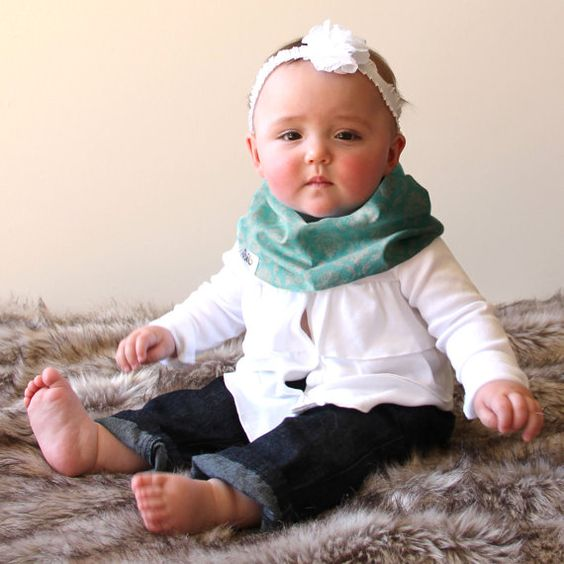 Scabib: new Infinity scarf style bibs for babies. Too fun.