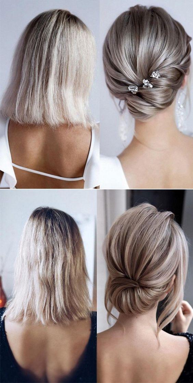 20 Medium Length Wedding Hairstyles For 2021 Brides Emmalovesweddings Short Hair Updo Short Wedding Hair Bridal Hair Updo