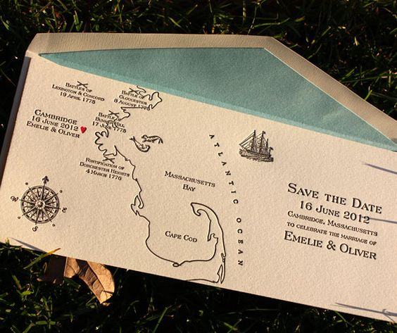 charming save the date with custom map illustration with pool envelope liner