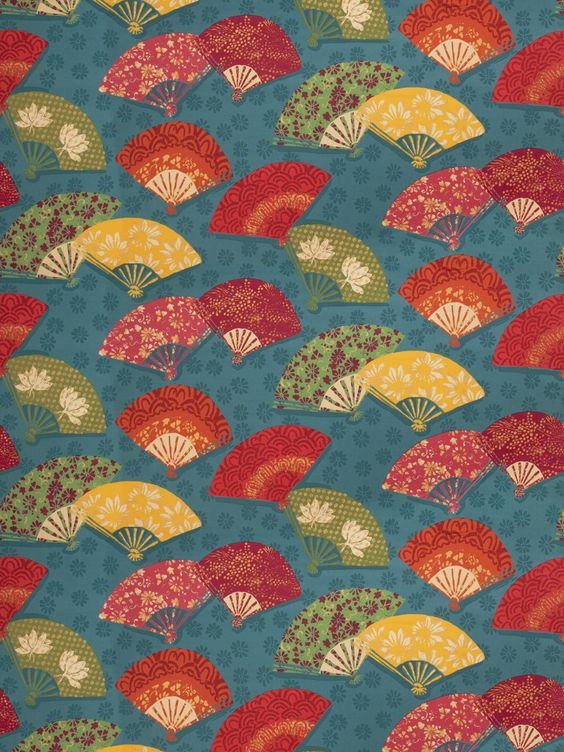 Exotic Fans Peacock from the Isabelle De Borchgrave collection  Design: Asian, Chinoserie, Print Pattern