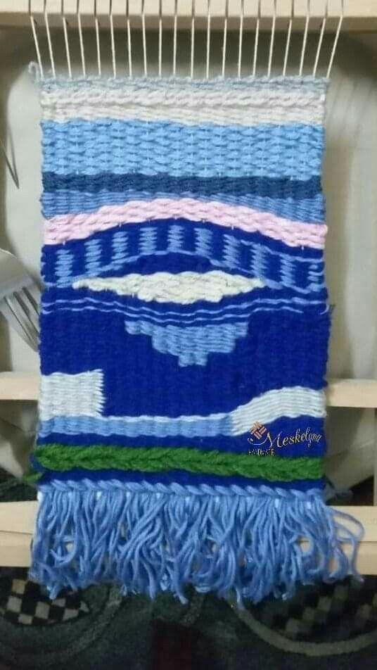 أول عمل ليا علي النول قطعة نسيج ديكور معلقة للحائط من تصميمي استخدمت فيها خيوط القطن والصوف والاكريلك The First Piece Fiber Art Weaving Throw Blanket