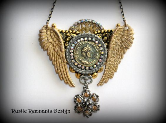 Antique Coin Collage Necklace by RusticRemnantsDesign on Etsy, $55.00