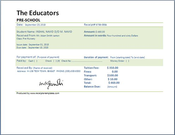 School Fee Payment Receipt Template Collection of Business - cash cheque receipt format