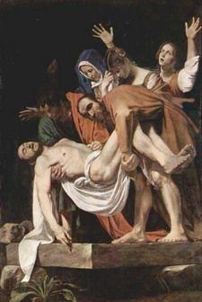 ARTE EM ROMA - Descida da Cruz, de Caravaggio,1600 1604. A tela é considerada uma das obras-primas do pintor, foi encomendado por Girolamo Vittrice para a capela de sua família em Santa Maria de Vallicella,Roma. Museu do Vaticano.