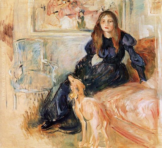 Berthe Morisot (French Impressionist painter, 1841–1895) Julie Manet and Her Greyhound, Laertes, 1893. Oil on canvas, 28.7 × 31.5 in (73 × 80 cm). Musee Marmottan Monet, Paris.