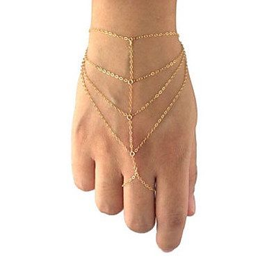 (Price is per piece)  Sexy tiered gold tone or silver tone hand chain - Womens, Gypsy , Boho, Body Chains, Belly dancing Jewelry - Beach or